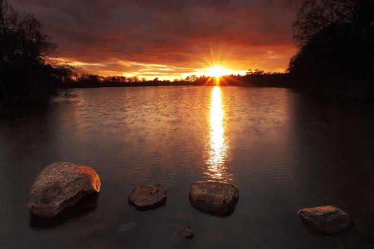 morning forest sunrise lake rocks reflection f wallpaper