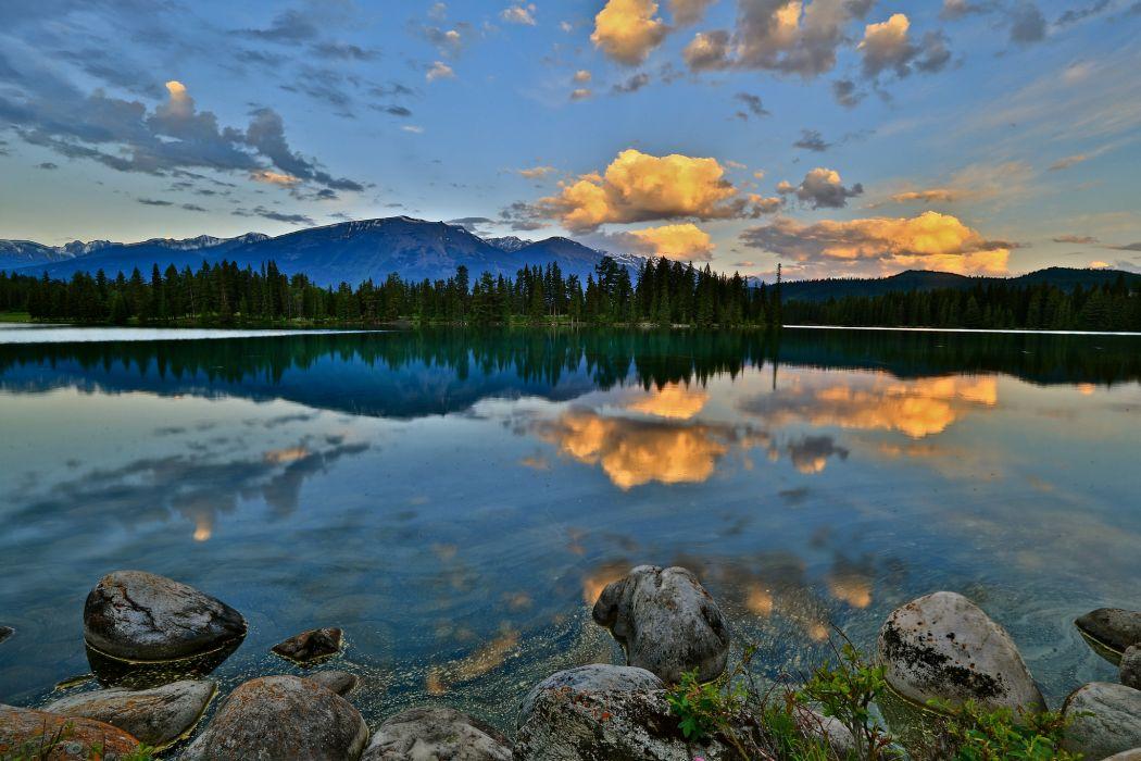 mountain forest lake rocks dawn wallpaper