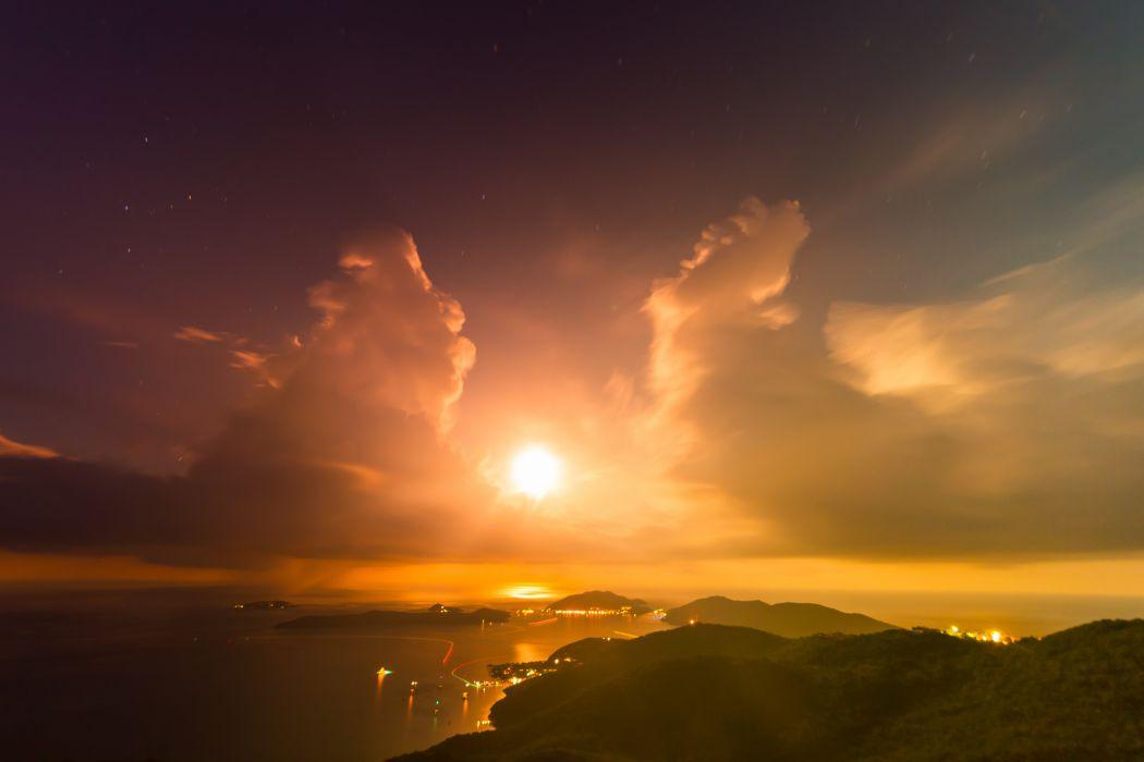mountains bay islands sun clouds evening sunset lights sky wallpaper