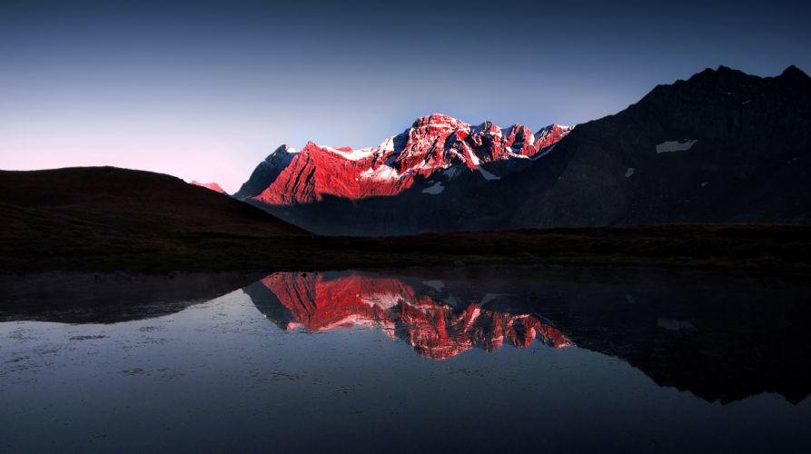 Mountain lake snow reflection g wallpaper