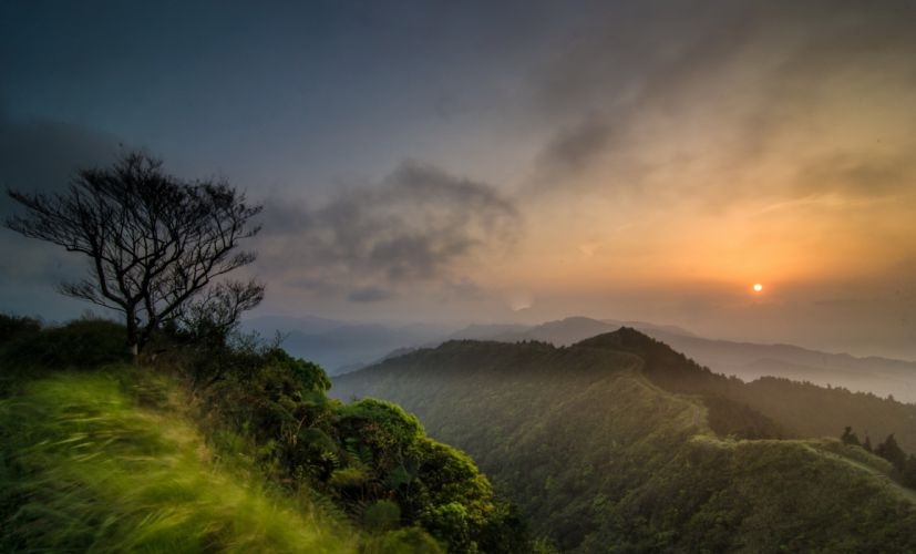 mountains forests tree clouds sun wallpaper