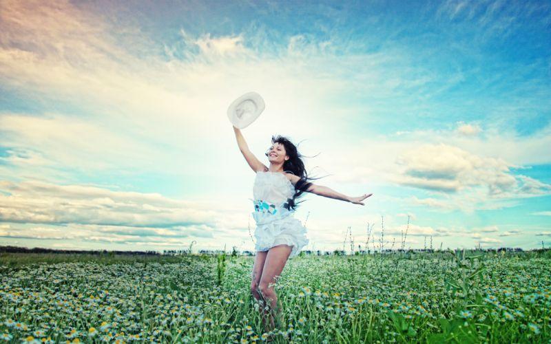 nature girl daisy happiness mood f wallpaper