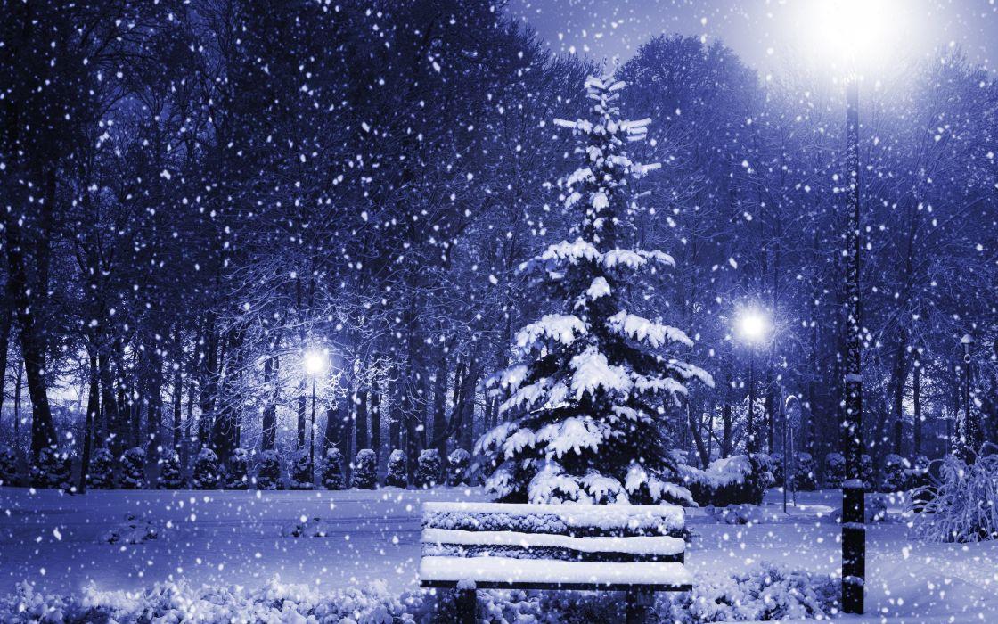 new year christmas tree winter snow snowflake flakes wallpaper