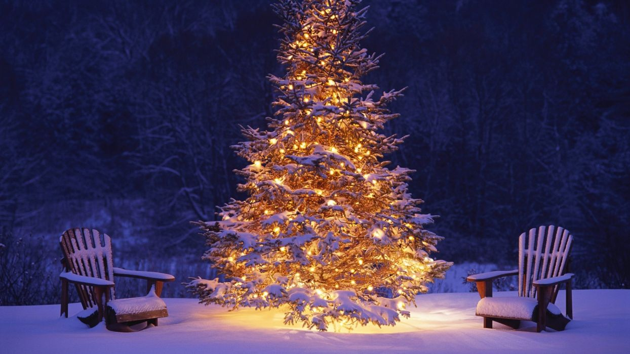new year christmas christmas tree lights snow chair winter bokeh wallpaper