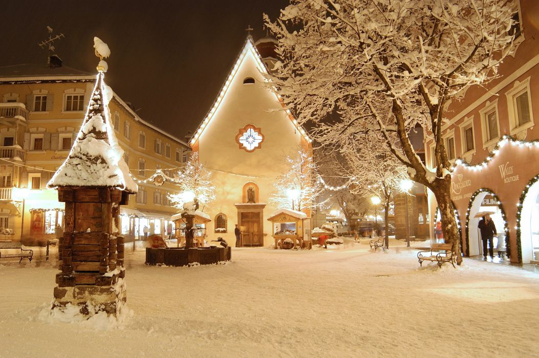 new year lights street holiday italy winter valgardena hotel resort italia christmas     d wallpaper