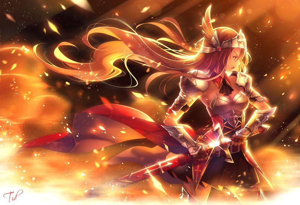 original armor brown hair leaves long hair original red eyes signed sword tidsean weapon wallpaper