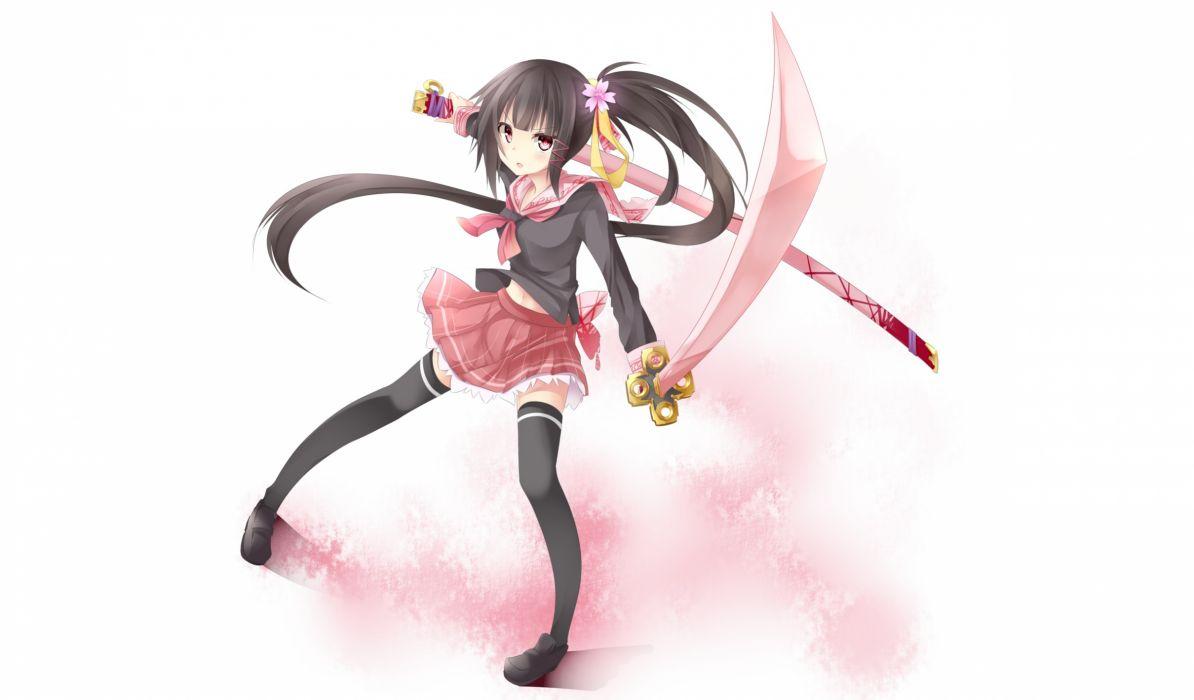 original black hair brown eyes long hair original seifuku sword thighhighs tyaba neko weapon white wallpaper