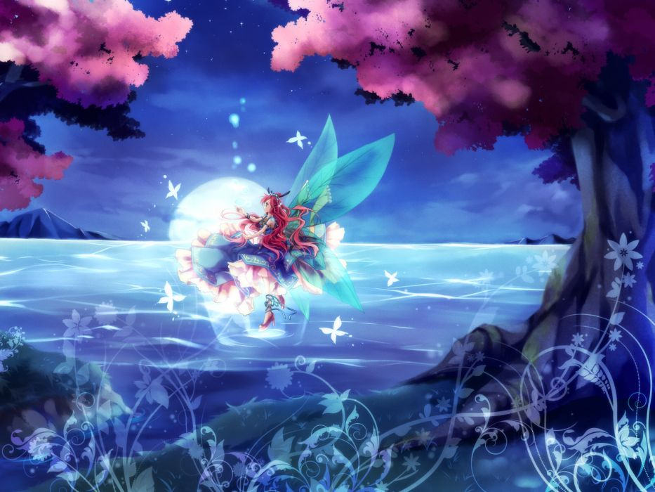 original blue eyes butterfly dress fairy long hair marimo moka moon original red hair scenic stars water wings wallpaper