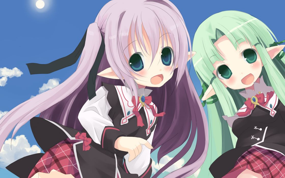 original girls blue eyes bow green eyes green hair loli pointed ears purple hair shiro wallpaper