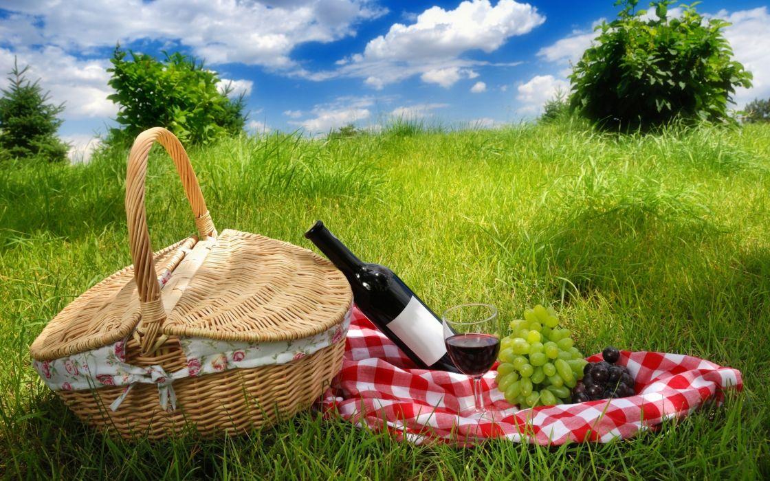 picnic nature wine grapes basket wallpaper
