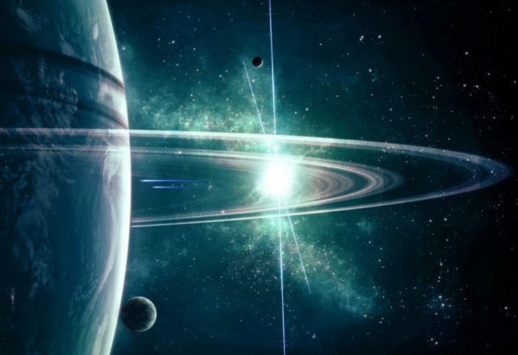 planet rings stars space spaceship wallpaper