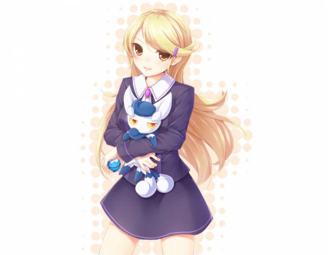 pokemon blonde hair brown eyes dabadhi long hair meowstic pokemon skirt white wallpaper