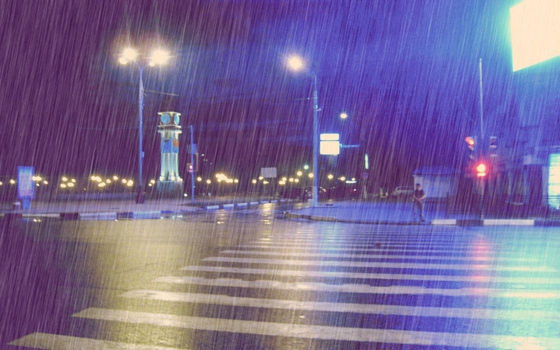 rain road evening city storm mood drops wallpaper