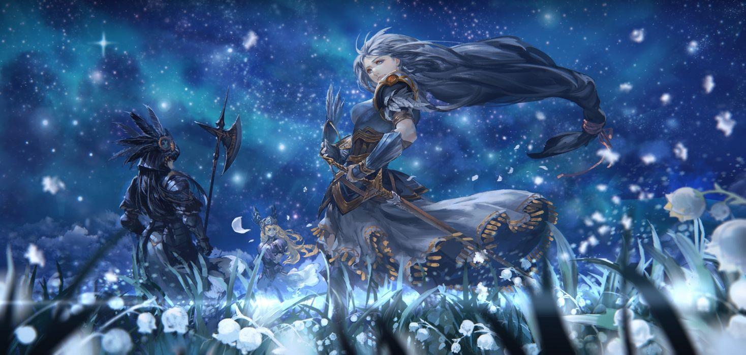 valkyrie profile armor black hair blonde hair blue blue hair dress flowers hrist long hair night petals silmeria sky stars sword valkyrie profile weapon wallpaper