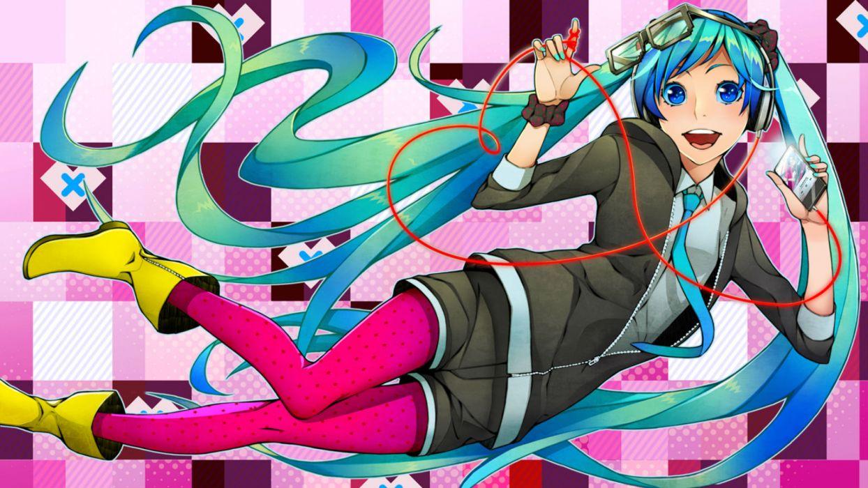 vocaloid blue eyes blue hair boots glasses hatsune miku headphones long hair pantyhose shiro (nitto) shorts tie twintails vocaloid wallpaper