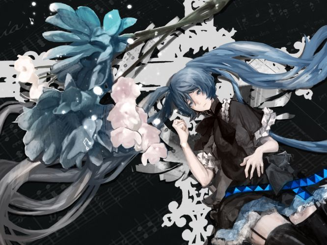vocaloid blue eyes blue hair flowers garter belt hatsune miku long hair music nello (luminous darkness) stockings twintails vocaloid wallpaper