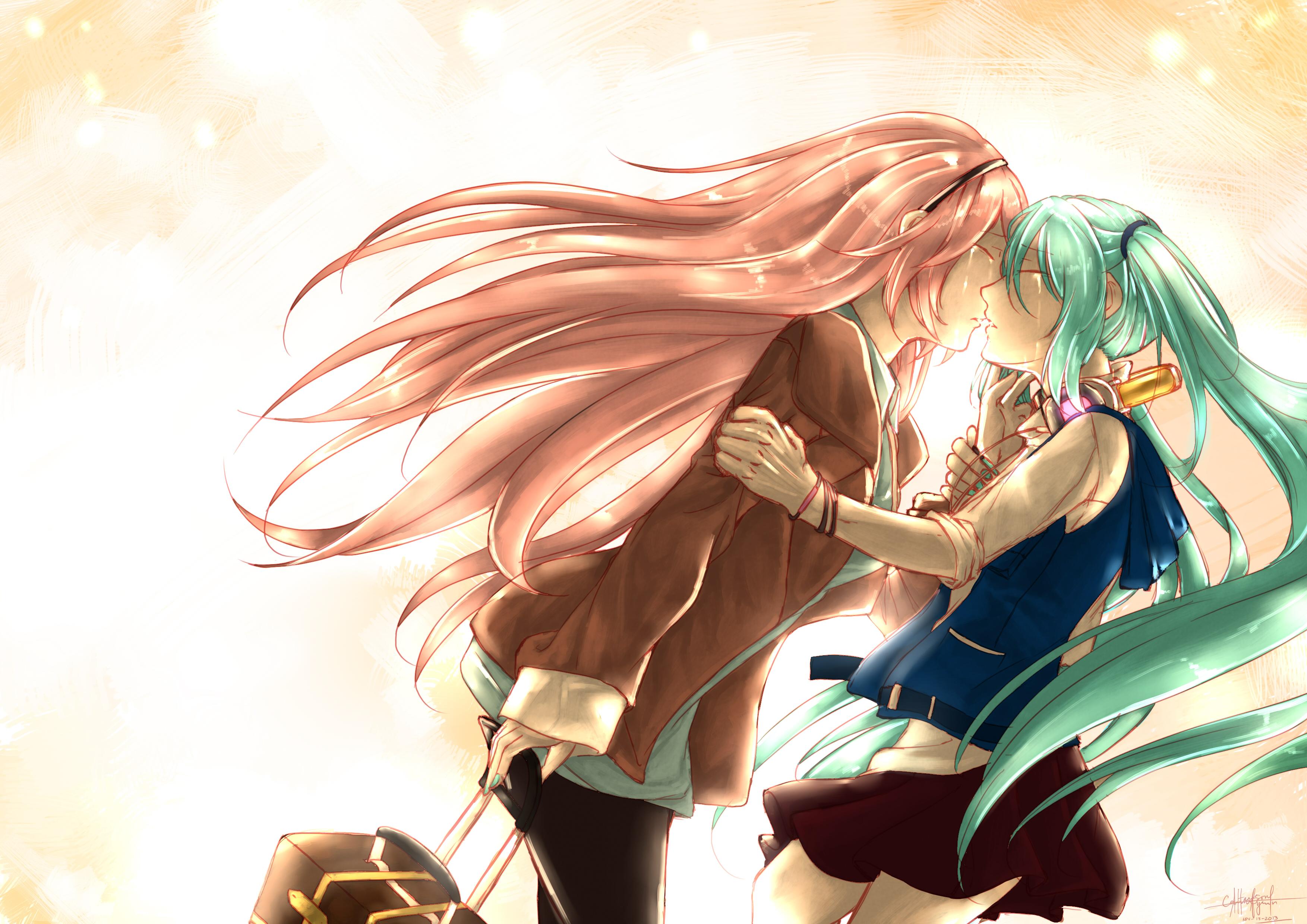 vocaloid hatsune miku hug kiss megurine luka vocaloid yuri