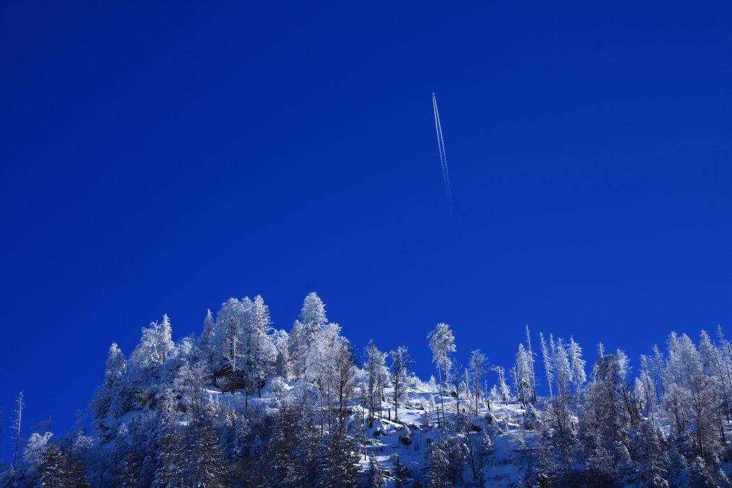 winter mountains trees plane nature snow sky airplane     f wallpaper