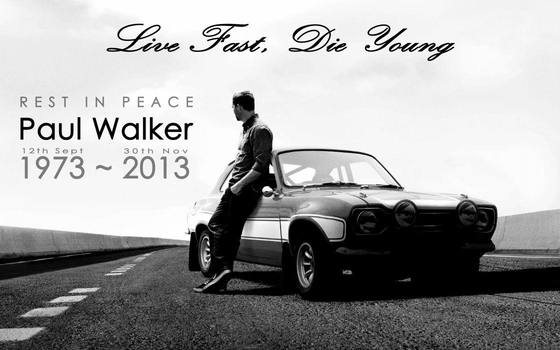 Paul Walker Fast & Furious Ford Classic Car Classic BW RIP wallpaper