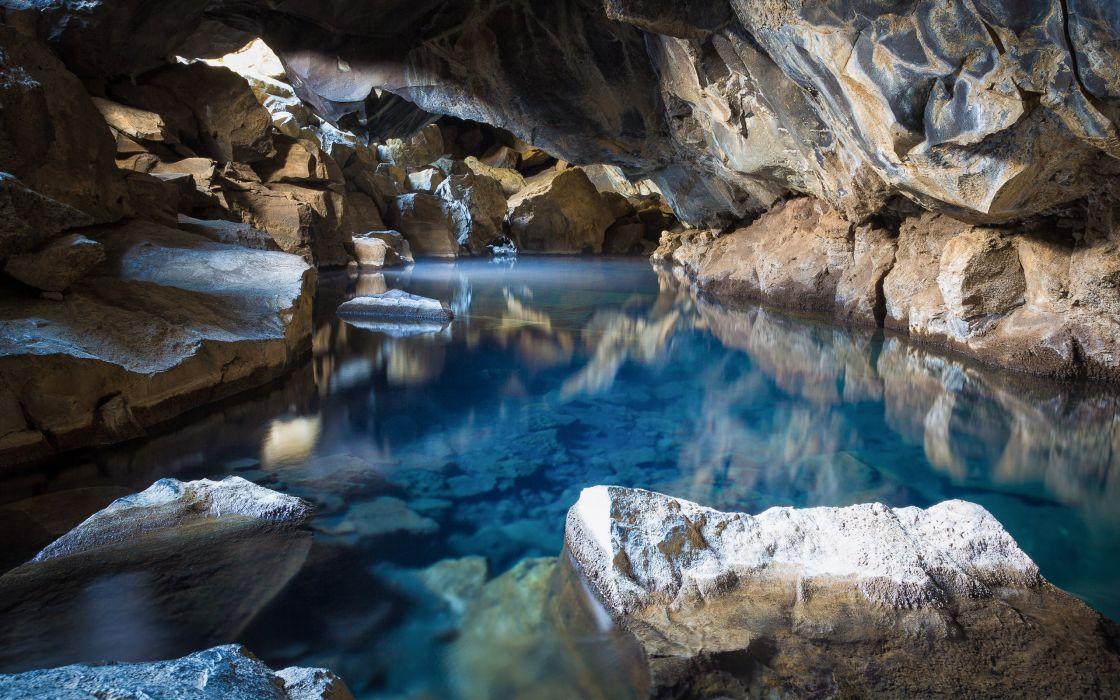 Cave Rock Stone river reflection     d wallpaper