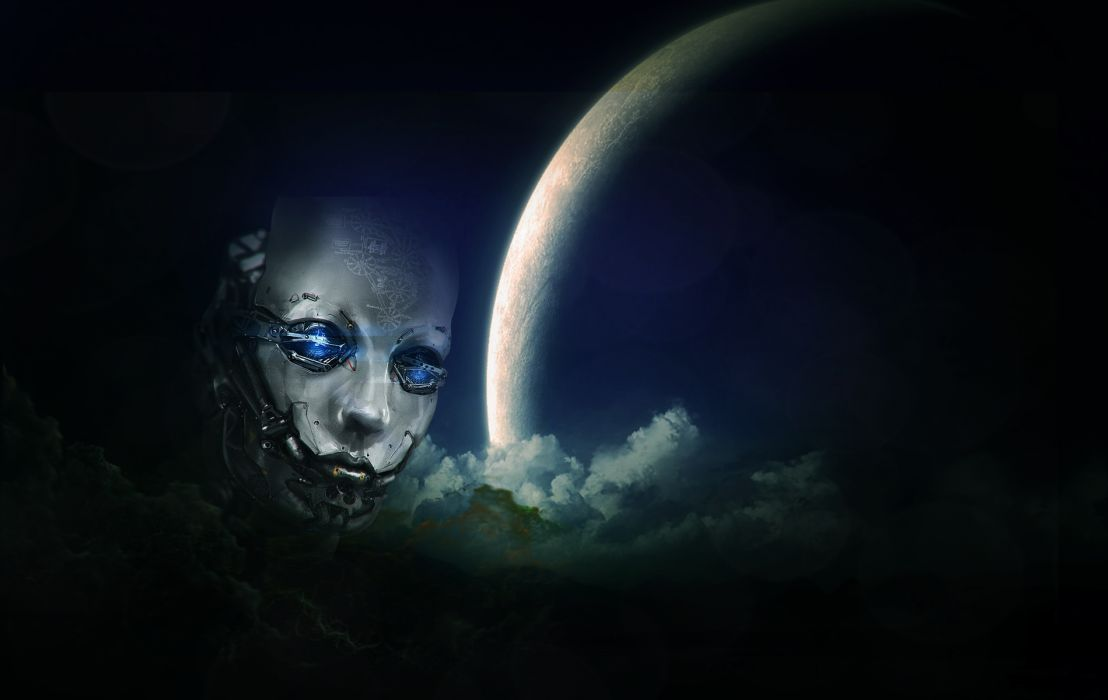 Face Android Cyborg Robot Planet Clouds psychedelic     d wallpaper