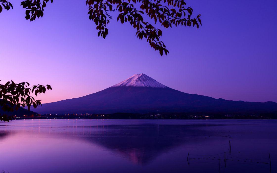 Mountains Landscape reflection Purple Lake wallpaper
