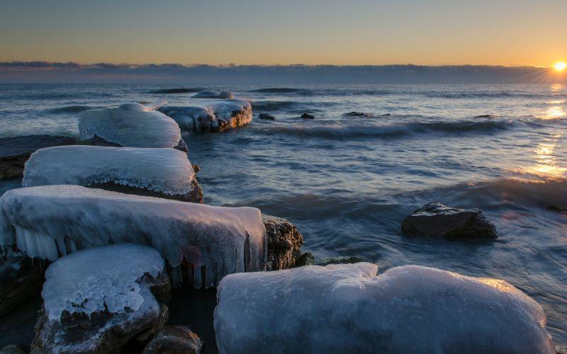Ocean Ice Shore wallpaper