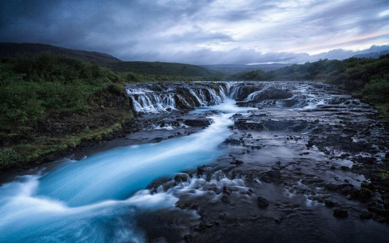 Waterfall River Rocks Stones Landscape wallpaper