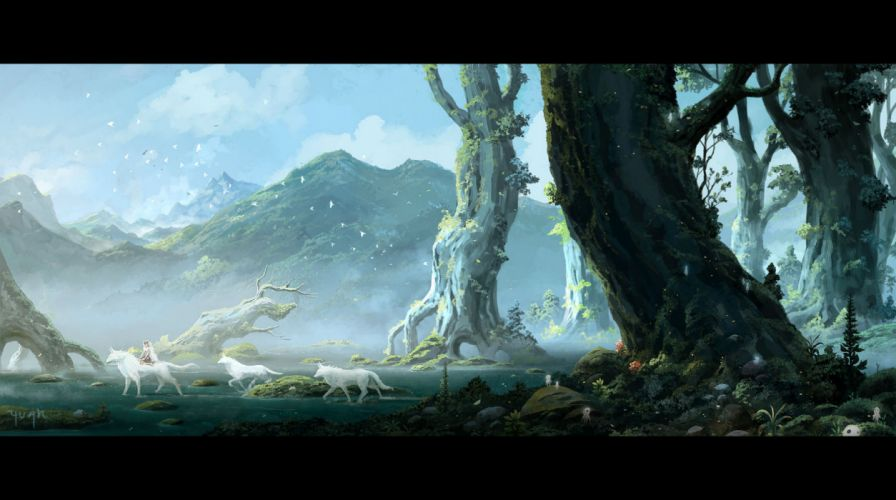 mononoke hime animal bird clouds forest grass mononoke hime san scenic signed sky tree water wolf yuan wallpaper