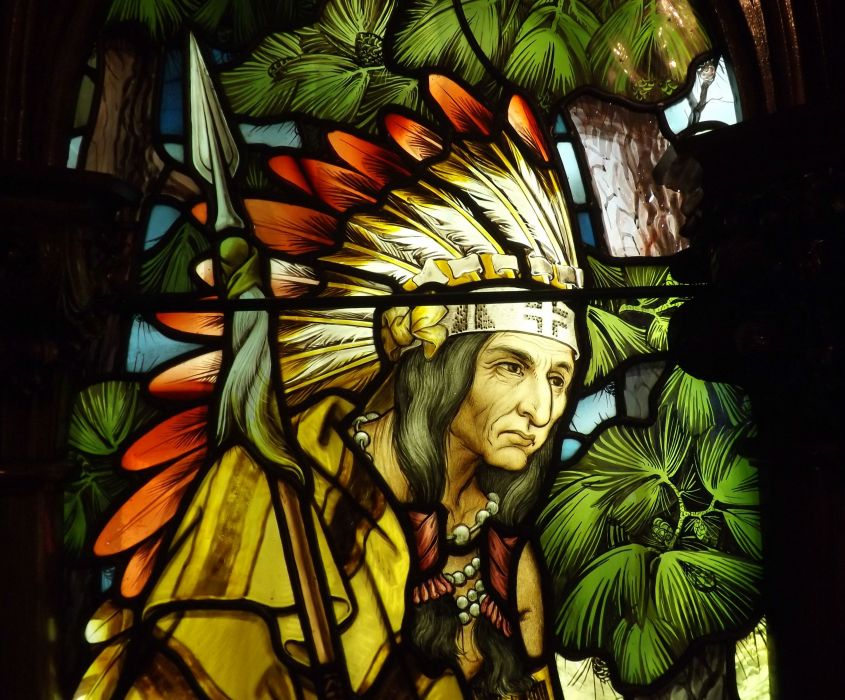Stained glass art window native american indian wallpaper