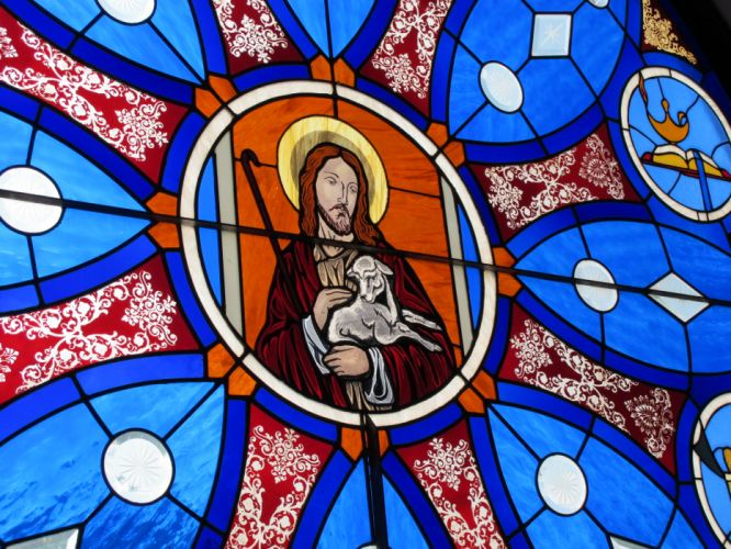 Stained glass art window religion n wallpaper