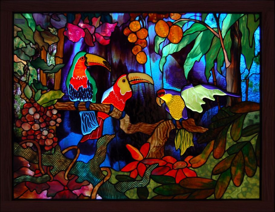 Stained glass art window tropical parrot color jungle forest   f wallpaper
