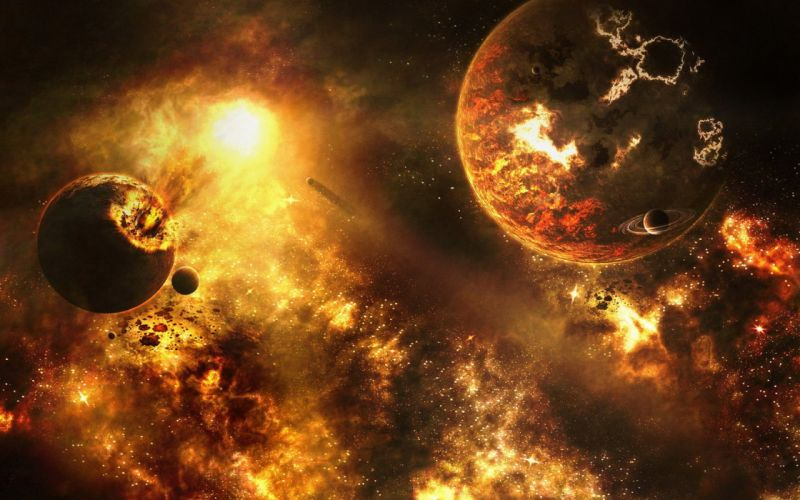 outer space stars planets catastrophe wallpaper