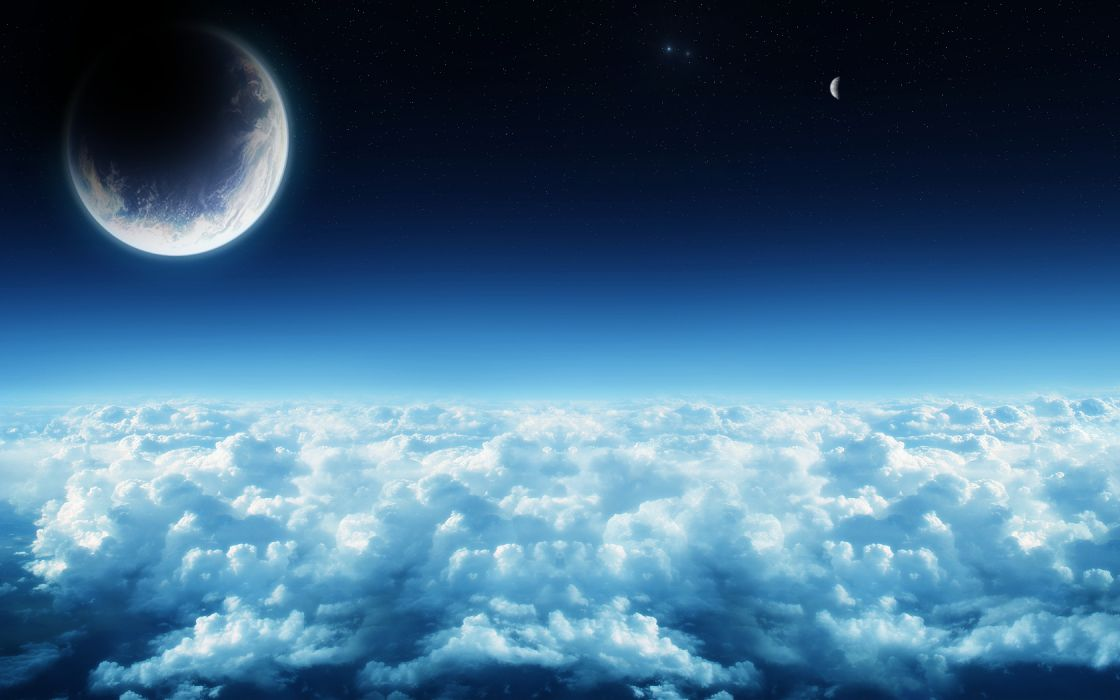 clouds outer space Moon wallpaper