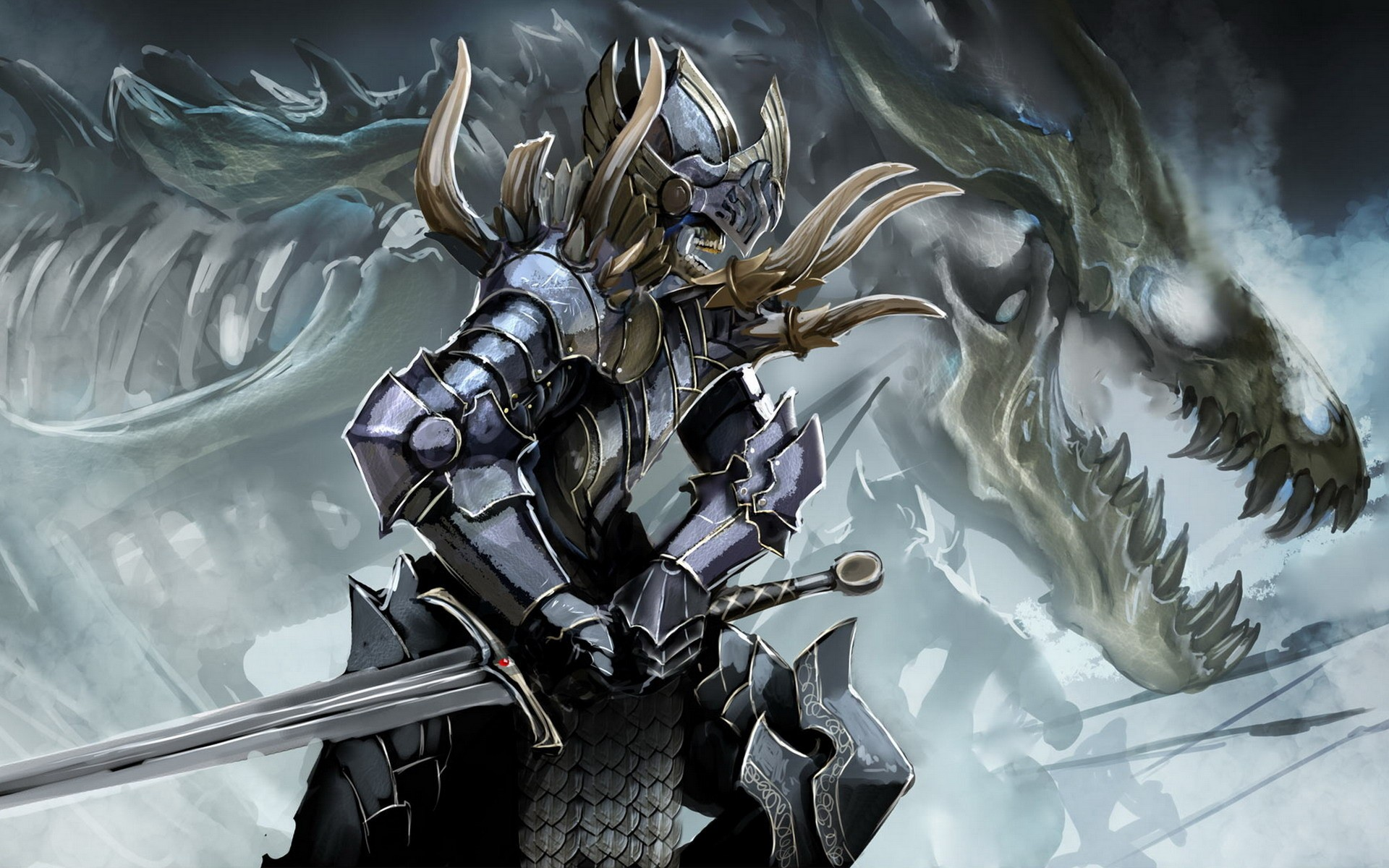 Armored Dragon Wallpaper Soldiers Skulls Dragons