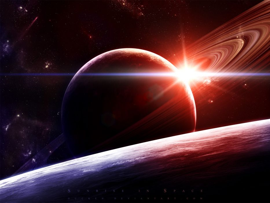 sunrise outer space stars planets Saturn wallpaper