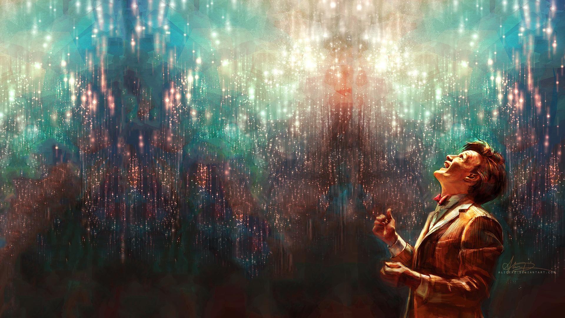 Stars Matt Smith glowing Eleventh Doctor smiling artwork ...