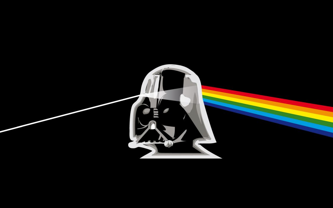 Pink Floyd Darth Vader prism rainbows wallpaper
