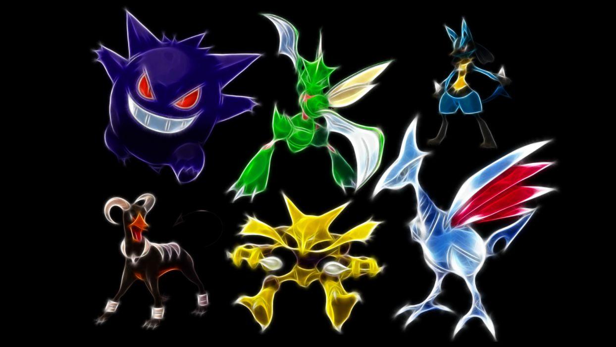 Pokemon Gengar Lucario Houndoom Scyther Kadabra Skarmory black background wallpaper