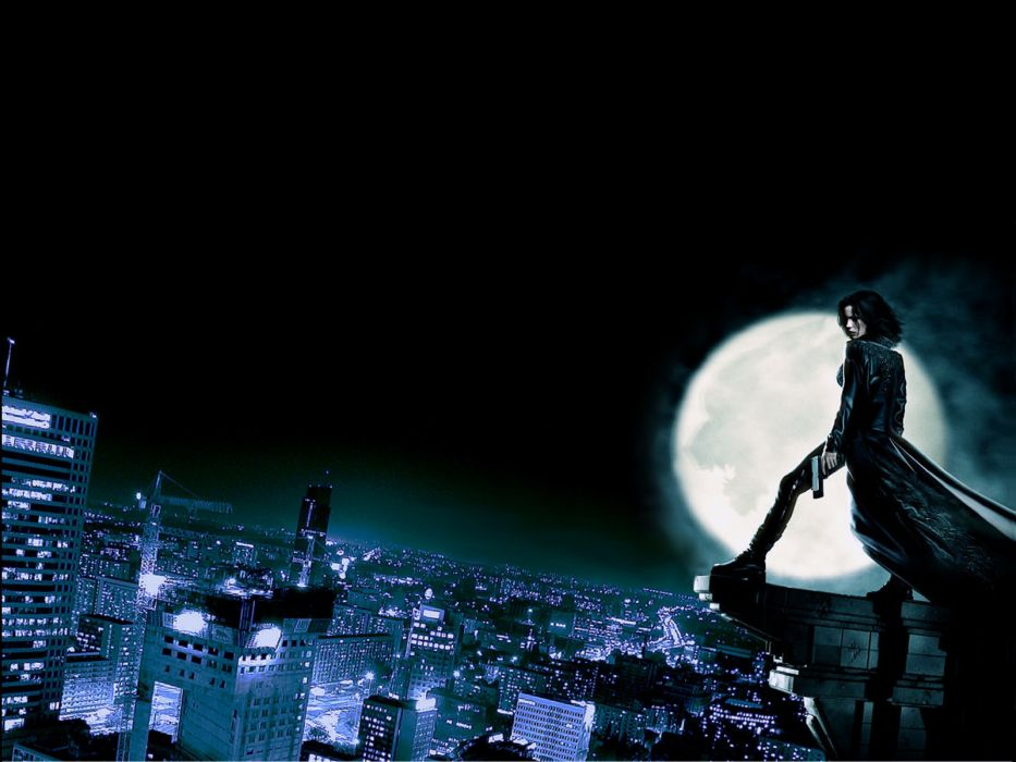 cityscapes architecture Moon Kate Beckinsale buildings Underworld vampires rooftops wallpaper