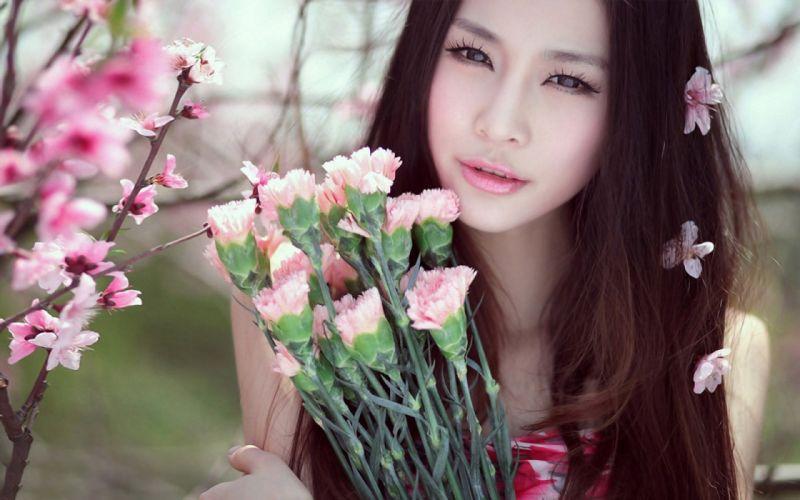 women flowers models wallpaper