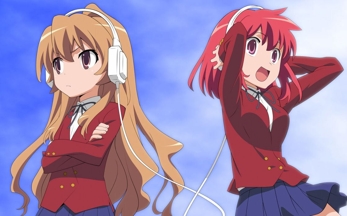 headphones school uniforms Aisaka Taiga Kushieda Minori Toradora anime wallpaper
