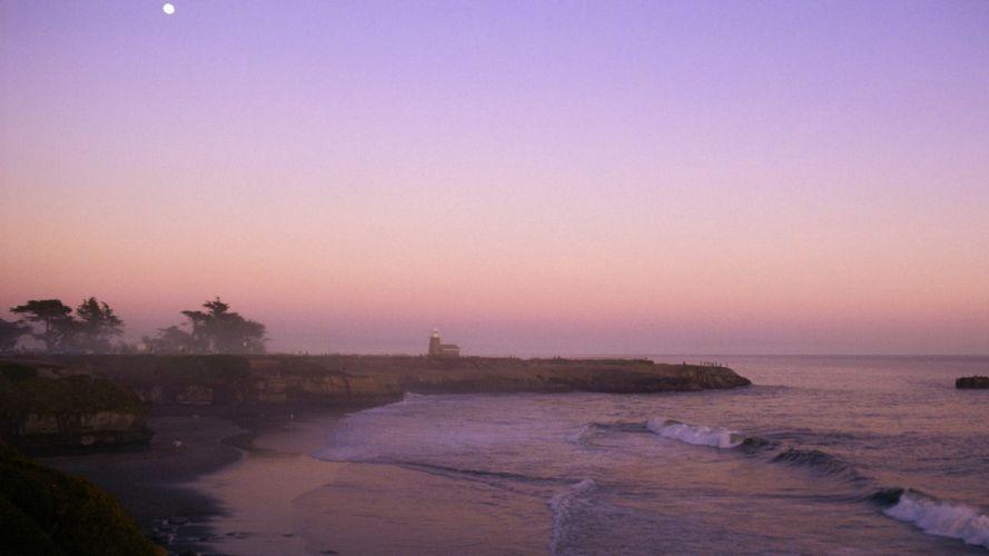 California lighthouses Santa beaches wallpaper