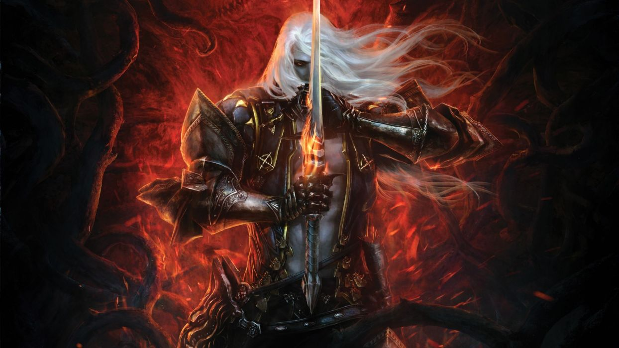 video games Alucard fantasy art armor Castlevania artwork white hair swords wallpaper