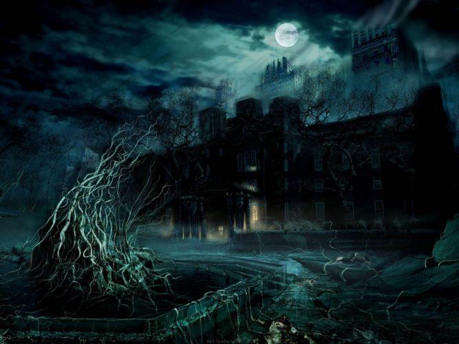 creepy video games castles Alone in the Dark wallpaper