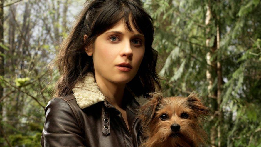 brunettes women nature actress dogs Zooey Deschanel wallpaper