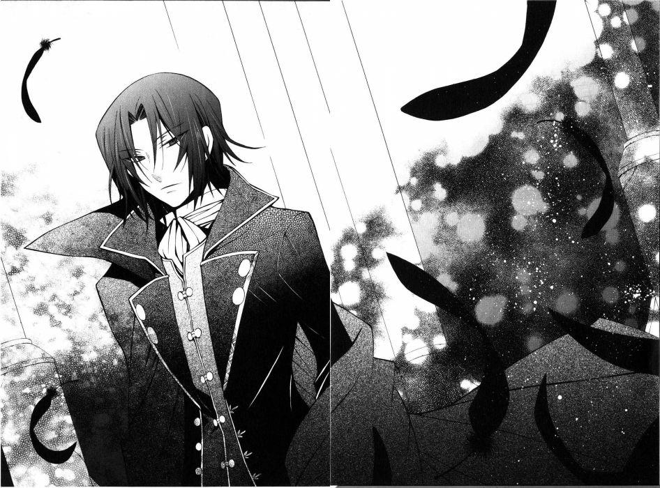 brunettes feathers Pandora Hearts monochrome anime manga Glen Baskerville wallpaper