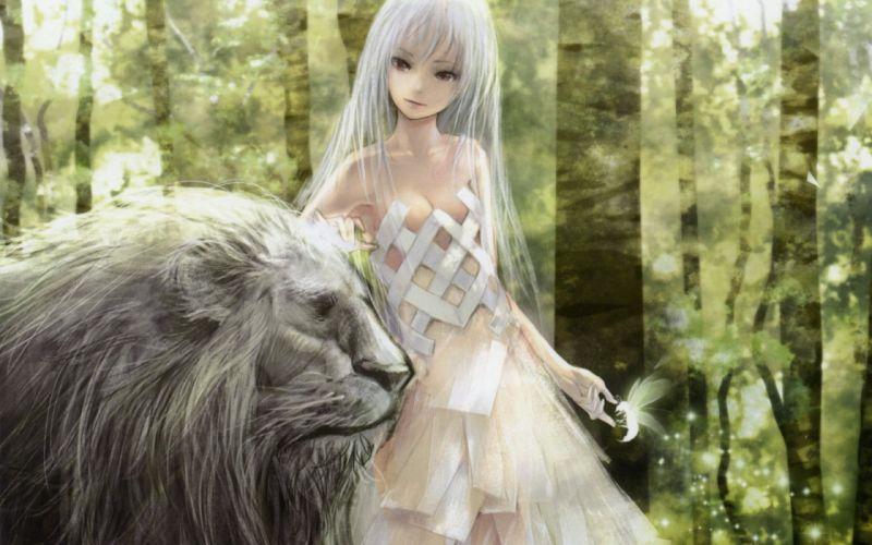 nature dress forests animals insects cleavage long hair red eyes lions white hair white dress Redjuice anime girls wallpaper