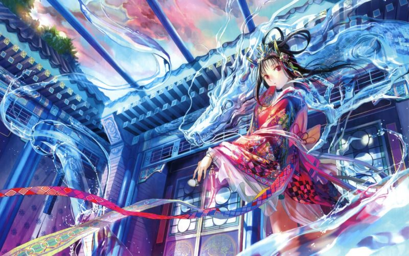 water dragons ribbons Fuji Choko anime girls original characters wallpaper