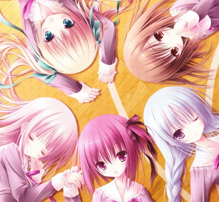 brunettes blondes circles ribbons blue hair pink hair anime braids Tinkle Illustrations Ro-Kyu-Bu! Hakamada Hinata Kashii Airi Minato Tomoka Misawa Maho Nagatsuka Saki anime girls wallpaper